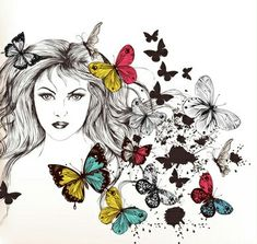 Beautiful girl with butterflies design vector Vector Free Download, Butterfly Design, Girl Face, Beautiful Butterflies, Graphic Design Art, Adobe Illustrator, Illustration, Creative, Vectors