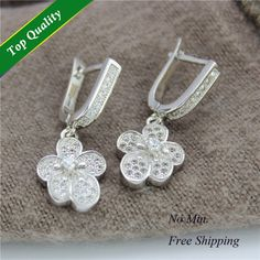 Find More Stud Earrings Information about New Brincos Ouro Branco 18k,Stud Earring Jewelry,2015 Fashion 925 Silver Flower Clear Crystal Clasp Earrings for Women,R218,High Quality earring 925,China earrings bone Suppliers, Cheap earring material from ULove Fashion Jewelry Store on Aliexpress.com