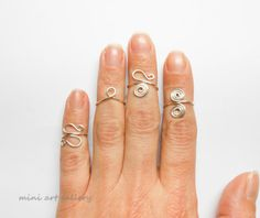 Silver Above the knuckle Ring set / wire adjustable silver color / Mid Finger Simple Wire Ring, Hippie Ring / enameled coated copper wire.  by Mini Art Gallery