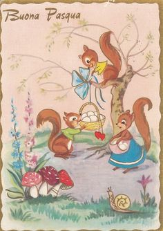 Buona Pasqua - Vintage Italian Easter PC - Anthropomorphic Squirrels - Snail | eBay