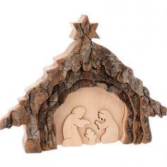 Crèche de Noël, 13 cm taillée dans une écorce de bois, motif étable