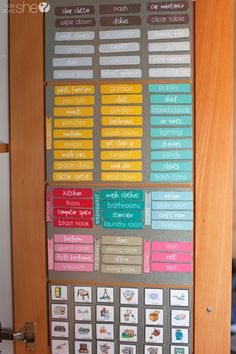 Love this idea!  Organize a magnetic chore chart inside your pantry door! Print all of these tags for FREE at howdoesshe.com #chorechart #cleaning #organization