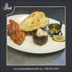This is our surf and turf offered on Fridays and Saturdays!  This past weekend we featured a 1lb. Lobster!  www.twelveoaksbrownsville.com - (724) 785-3200