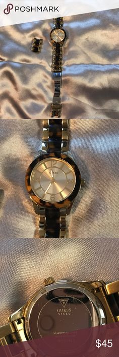 Gold Guess Watch Used gold guess watch with tortoise design. Very simple and chic. Links have been taken out and will come with the Watch. Water Resistant, Japan Mov't. Battery is dead. Guess Accessories Watches