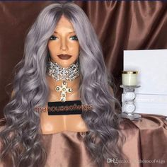 Grey Color 100% Human Hair Lace Front Wig Glueless Lace Wig Wavy With Baby Hair Full Lace Wigs Grey Color Human Hair Lace front Wigs Lace Wig Full Lace Wigs Online with $501.05/Piece on Thehouseofwigs's Store | DHgate.com Lace Front Wigs, Lace Wigs, Headband Wigs, Colored Wigs, Wigs Online, Curly Wigs, Lace Frontal, 100 Human Hair, Weave Hairstyles