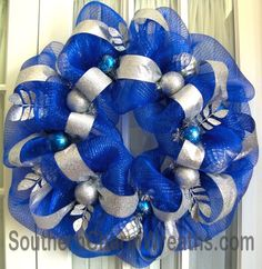 Mesh Wreath Royal & Silver Hanukah by Southern Charm Wreaths. Deco Mesh Garland, Deco Mesh Wreaths, Holiday Wreaths, Holiday Crafts, Christmas Decorations, Diy Hanukkah, Hannukah, Holiday Themes, Festival Lights