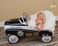 CHP baby boy..CHP patrol car baby boy..CHP pride Newborn baby boy www.caligirlphotgraphy.com So Cal. Photographer