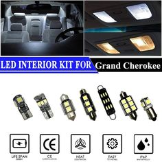 Buy LED Interior Lights Accessories Replacement Package Kit For Cadillac Escalade Pieces) at Wish - Shopping Made Fun Passat B7, Jetta Mk5, Toyota Rav, Toyota Prius, White Led Lights, Mirror With Lights, Kia Rio 2018, Tucson, Jaguar
