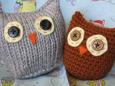 a pair of universal patterns for simple one-piece owls, one knitted and one crocheted.