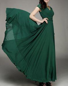 Maxi Kleid Chiffon Kleid grünen Kleid vAusschnitt von Fashiondress1, $118.99