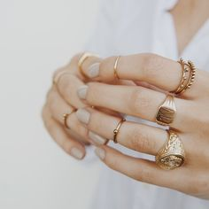 Golden layering done right | courtesy of The Mahe Ring Set ($60) from our @wolfcubwolfcub collab  #LuvAj @daniella_chiara  by @kitchykitchen