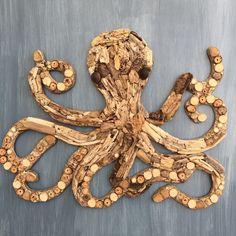 Driftwood Octopus Coastal Wall Decor by BeachwoodDreams on Etsy