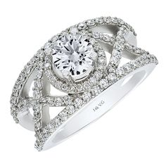 14K white gold and 0.90 ct.  diamond engagement ring