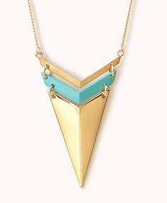 Spiked Chevron Necklace #necklace #turquoise #spiked #gold