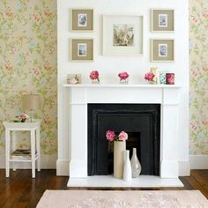 super cute fireplace with nice subtle pops of color and print