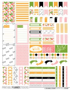 Kate Spade Inspired Fun Floral Printable Planner Stickers made to fit the Happy Planner.