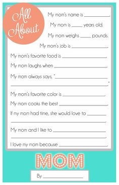Mother's Day Questionnaire | A fun and FREE printable for the kids to fill out for their moms for Mother's Day! There's also one for grandma. #printable #free #moms