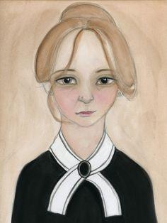 Victorian Lady Watercolor Portrait Art Print by bluehourstudio