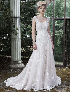A-Lijn Scoop Mouwloos Bruidsjurk - $214.99