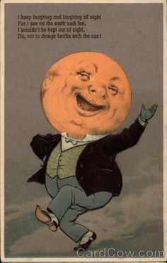 Man with Moon Head -post card vintage