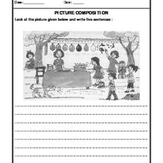 Worksheet of Picture Composition-Paragraph Writing-Writing-English English Creative Writing, English Writing Skills, Opinion Writing, Printable English Worksheets, Worksheets For Class 1, Grammar Worksheets, Picture Comprehension, Reading Comprehension Passages, Comprehension Worksheets