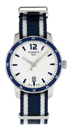 25853673a0be T0954101703701 shop Tissot Quickster Stripe Nylon White Dial Unisex Watch  for less on sale   WatchWarehouse