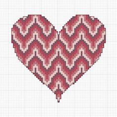 Free Bargello Cross Stitch Valentine's Heart Pattern