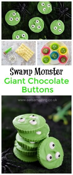 Easy Swamp monster Giant Chocolate Buttons - just 3 ingredients for this fun Halloween treat - fun food for kids - Eats Amazing     #halloween #halloweenparty #HalloweenFood #trickortreat #Monster #funfood #foodart #kidsfood #cookingwithkids