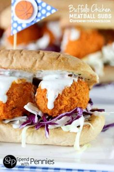 Buffalo Chicken Meatball Subs! Like Buffalo Wings? Tender chicken meatballs baked crispy in the oven, rolled in buffalo sauce & topped with dip! These can be served as buffalo chicken sandwiches or sliders! Bring on March Madness! Buffalo Chicken Sandwiches, Meatball Subs, Meatball Recipes, Buffalo Chicken Meatballs, Cold Appetizers, Wrap Sandwiches, Clean Eating Snacks, Main Dishes, Chicken Recipes