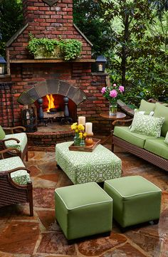 Cozy outdoor space... Poufs and ottomans are a great way to add seating for your holiday guests.