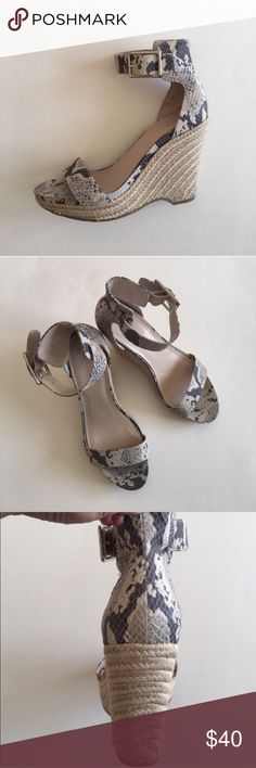 """Calvin Klein """"Snake Print"""" Shoes You will look amazing in these shoes!   Perfect with shorts, leggings, jeans, or skirt.  Ankle strap that buckles.  Shoes is great condition.  Minimal wear on soles and heel.  Heel is 4.5"""". Size -9 Calvin Klein Shoes"""