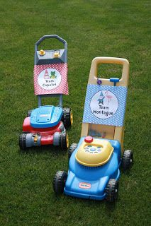 5M Creations: Gnome Party Summer BBQ, lawn mower race, party signs