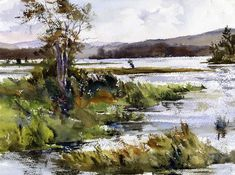 American Impressionism, Impressionist, Landscape Paintings, Watercolor Paintings, Landscapes, Hudson River School, Outdoor Paint, Natural Phenomena, Late Summer