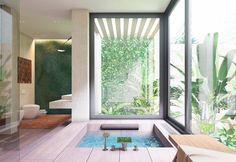 Tropical Inside Pool Large Black Framed Windows Green Feature Jade Wall Wooden Panel Flooring