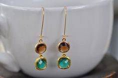 Emerald Green and Coffee Glass Earring, Green and brown bridesmaid earrings.Navy blue bridesmaids jewelry. Wedding jewelry. Bridal earrings. by JewelrybyXinyiMartin on Etsy