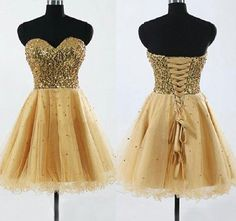 Strapless Gold Sequins Homecoming Dresses,Short Prom Dresses,Tee prom dress