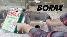 borax to clean garbage disposal. counteract the odors and sanitize it is by sprinkling three tablespoons of borax onto the disposal. Then let it stay for an hour and flush it off with warm water.