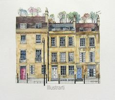 Print of Houses Bath UK From an Original Drawing and Painting Pen And Watercolor, Watercolor Landscape, Watercolour Painting, Watercolours, House Sketch, House Drawing, House Illustration, Watercolor Illustration, Fabrice Moireau