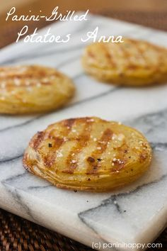 Panini-Grilled Potatoes Anna -- a fabulous side dish! The buttery layers are creamy on the inside, crispy on the outside.