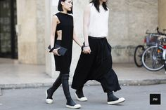 black with white is perfect all the time! 黑白總是永遠不帶的經典組合 Darren Chung and Evangeline Yan wearing Rick Owens during Paris fashion Week Spring Summer 2016.