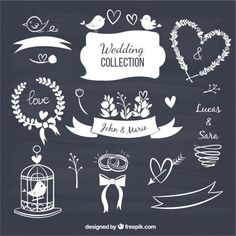 Wedding decorative elements in blackboard style Free Vector Blackboard Chalk, Chalkboard Decor, Chalkboard Wedding, Chalk Art, Wedding Badges, Photos Hd, Pink And White Background, Chalk Lettering, Wedding Background