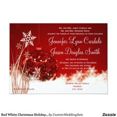 Red White Christmas Holiday Wedding Invitations