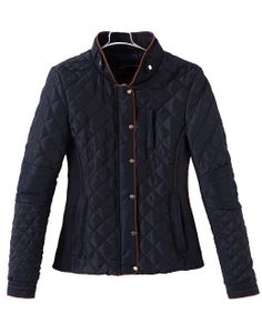 Navy Stand Collar Long Sleeve Quilted Patterned Coat US$50.80