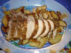 Egészben sült sertéskaraj pikáns burgonyával Recept képpel - Mindmegette.hu - Receptek Baked Potato, French Toast, Bacon, Pork, Potatoes, Meat, Cooking, Breakfast, Ethnic Recipes