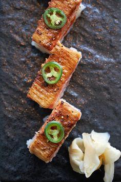 Flame-seared aburi oshi sushi at Miku. Oshi Sushi, Sushi At Home, Asian, Canada Travel, Pacific Northwest, British Columbia, Food Photo, Vancouver, Travel Inspiration