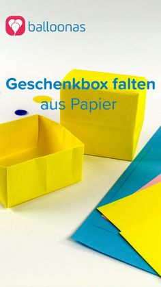 Make a gift box - simply from colored paper! You can quickly take this gift packaging home with your child So you always have a nice DIY for small gifts ready! Paper Gift Box, Diy Gift Box, Diy Box, Make A Gift, Paper Gifts, Diy Paper, Paper Box Tutorial, Diy Note Cards, Origami Toys