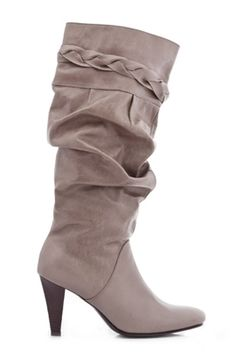 Ruched Heel Boots  Style meets sensibility with these Ruched heel boots, which have an ideal design for wearing any time and sport high heels and twill lining in a mid-calf boot design.