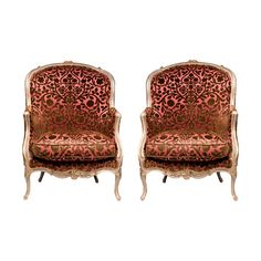 Early 19th C. Painted Beechwood Louis XV Bergere Chairs Found on Ruby Lane