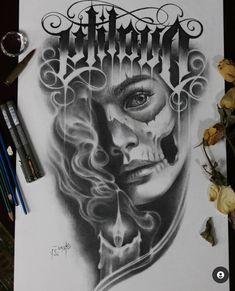 Chicano Tattoos Sleeve, Chicano Style Tattoo, Tatuajes Tattoos, Sugar Skull Girl Tattoo, Girl Face Tattoo, Girl Tattoos, Chicanas Tattoo, Dark Art Tattoo, Tattoo Drawings