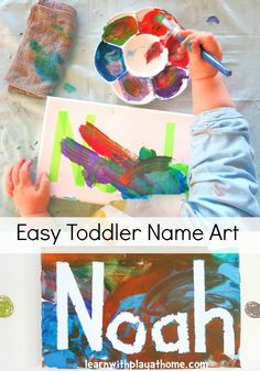 Easy Toddler Name Art (yes, the big kids love this one too!) (Learn With Play at Home) we should do this with the kids and hang them in their room! Craft Activities For Kids, Projects For Kids, Preschool Activities, All About Me Activities For Toddlers, All About Me Preschool Theme, Art Projects, Craft Ideas, Preschool Learning, Project Ideas